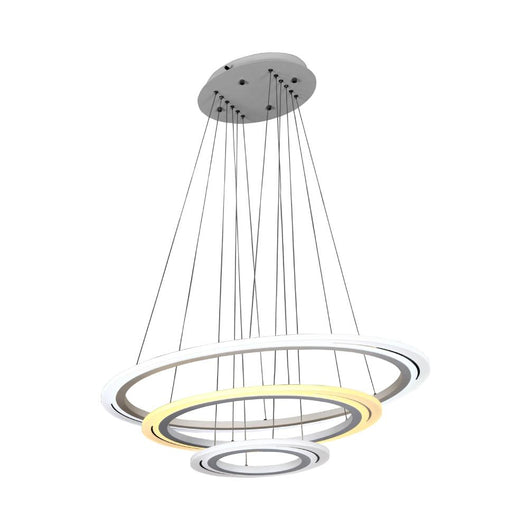 3-Ring, Modern Pendant Chandelier, 98W, 3000K-6500K, 3928LM, Dimmable, Aluminum Body Finish