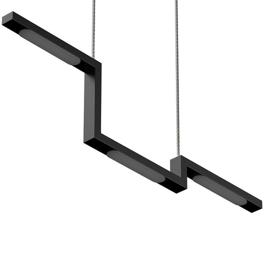 1-Lights - Modern Linear Chandelier Light - 16W - 3000K - 800LM - Suspension Fixture - Matte black Body Finish - Dimmable - 31.5''×1.3''×71'' (Dimension)