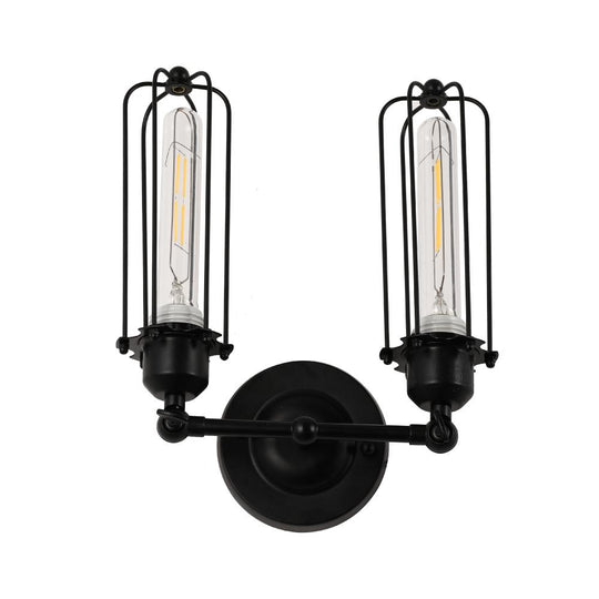 Lantern Shape Vanity Light Fixture. Matte Black Finish, E26 Base, UL Listed, For Dry Locations, 3 Years Warranty