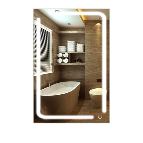 LED Bathroom Mirror 24 X 36  Inch Lighted Vanity Mirror Includes Defogger Touch Switch Controls LED Light with On-Off