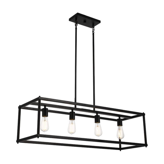 4-Lights Linear Chandelier Light, For Damp Location, Open Frame Rectangle Chandeliers, E26 Base, UL Listed, 3 Years Warranty
