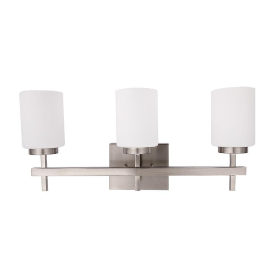 Brushed Nickel Bathroom Vanity Light with Opal Glass Shades, 4000K (Cool White), CRI >80, ETL Listed, Cylinder Shape Bath Bar Light