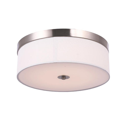 "15"" Drum Shape LED Flush Mount Light - 25W, 4000K (Cool White) - Brushed Nickel Finish & Milky White Acrylic Shade"