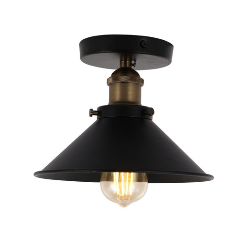 Industrial Style Semi-Flush Mount Light, E26 Base, Matte Black with Antique Brass Finish, UL Listed, 3 Years Warranty