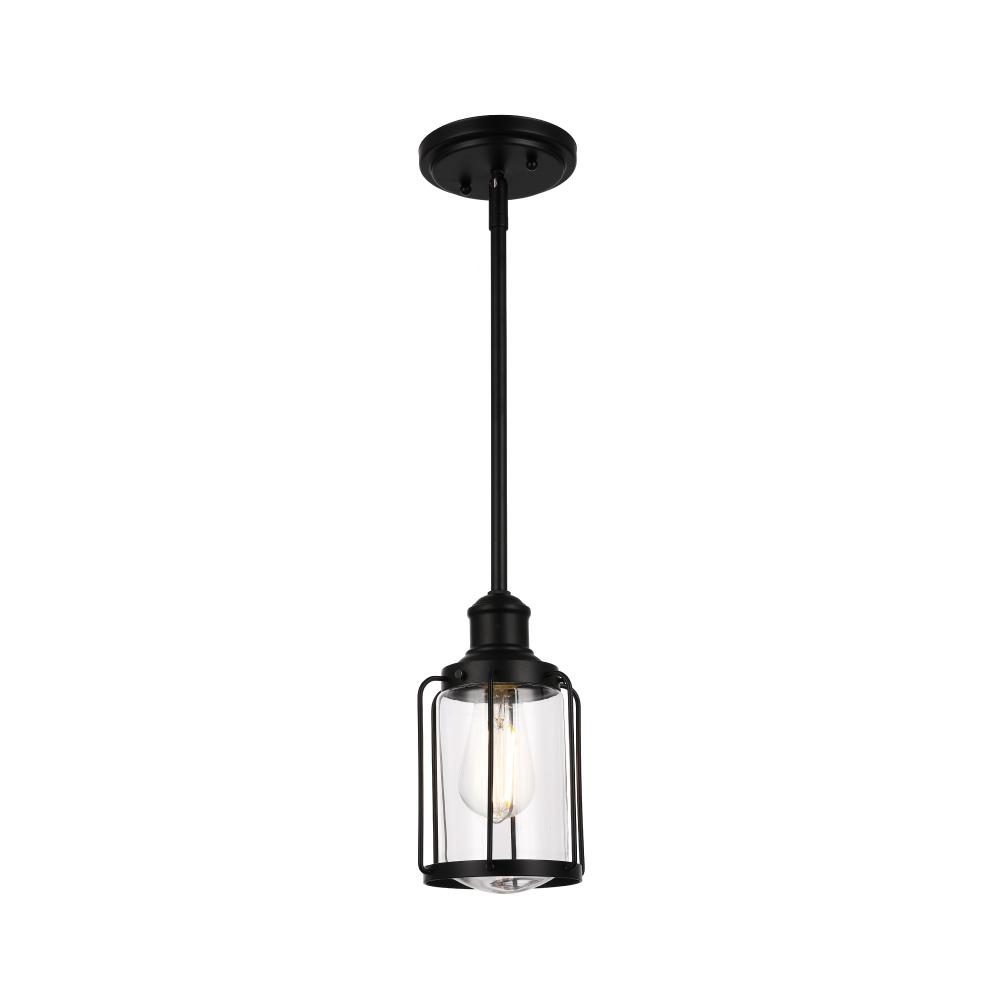 1-Light Birdcage Shape Pendant Light, Matte Black Finish, Clear Glass Shade, E26 Base, UL Listed