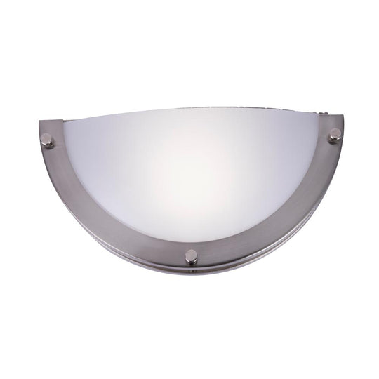 LED Half-Moon Wall Sconce -12W, 750 Lumens, Brushed Nickel Finish, White Acrylic Shade, ETL Listed