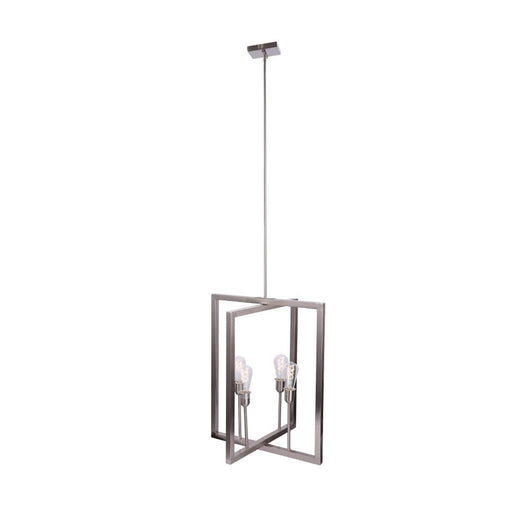 Farmhouse Chandelier - 4-Light Foyer Lighting for Dining Room - E26 Base - Brushed Nickel/Oil Rubbed Bronze Finish
