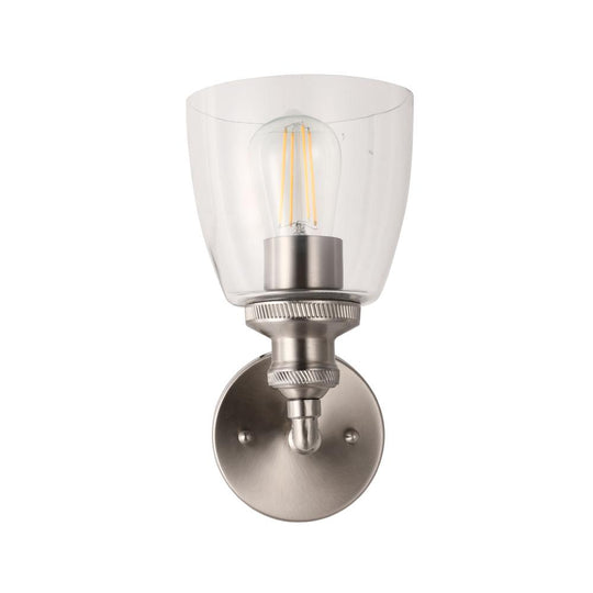 Bell Shape Wall Sconce Lighting Fixture, Brushed Nickel Finish, E26 Base, UL Listed for Dry Location, 3 Years Warranty