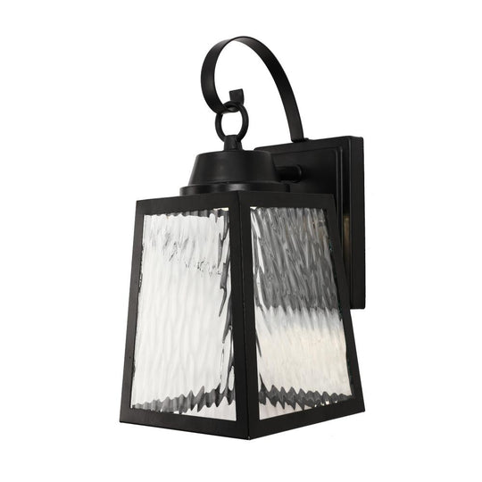 12W LED Outdoor Wall Lantern Fixture with Water Glass Shade, 4000K (Cool White), Dimmable, ETL Listed