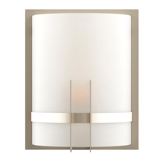 1-Light Wall Sconce, Brushed Nickel Finish with White Glass Shade, Arc Shape