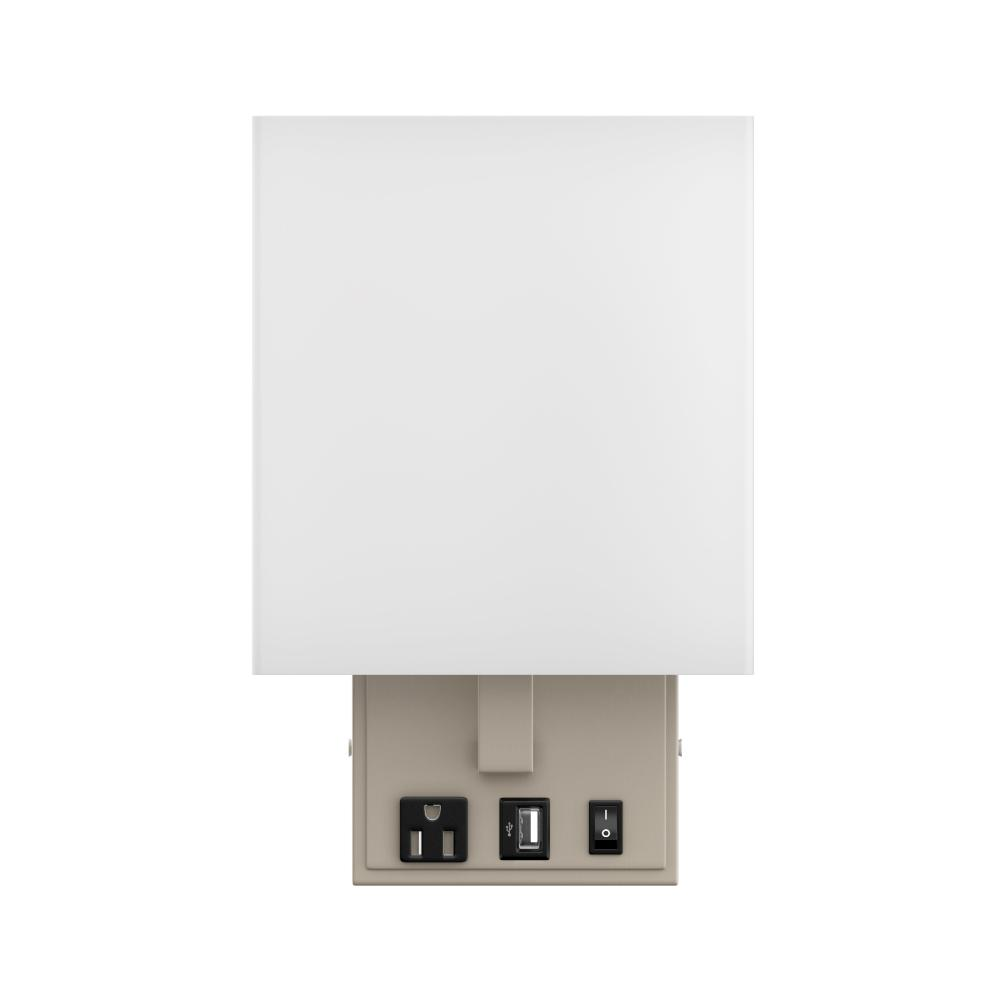 Modern Decorative Wall Sconce Light with 1 USB, 1 Rocker Switch, 1 Power Outlet, Satin Nickel Finish