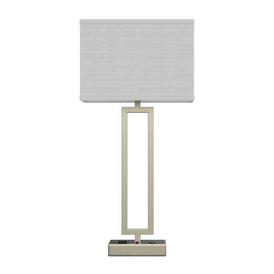 "28"" Desk Lamp with USB Port and Outlet, Brushed Nickel Finish and Rectangular White Linen Shade, On/Off Switch"