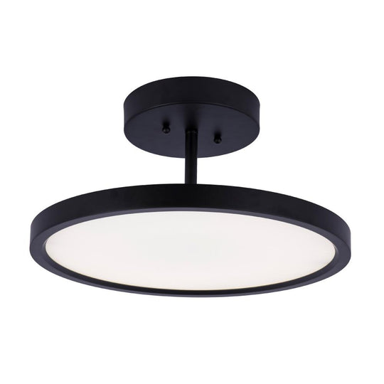 28W Round Shape LED Semi Flush Mount Ceiling Lights, Matte Black Finish with White Acrylic Shade, 1950LM, Dimmable