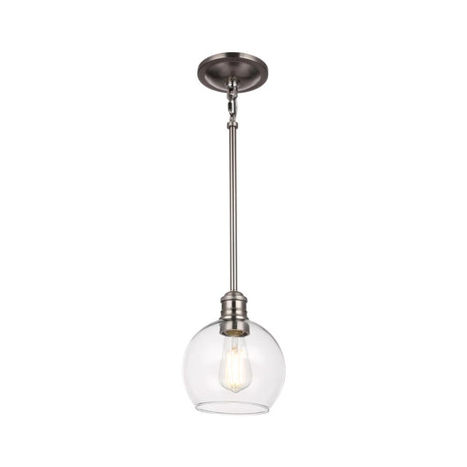 1-Light Clear Glass Pendant Lighting Fixture with Brushed Nickel Finish, E26 Base, UL Listed for Damp Location