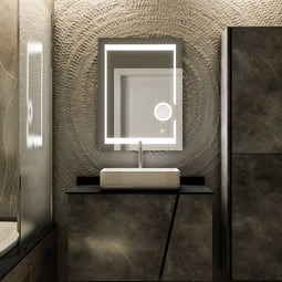 LED Bathroom Mirror with Magnifying Mirror, Defogger and CCT Remembrance, Auspice Style