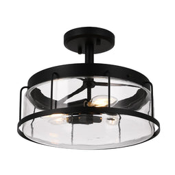 Drum Shape Semi-Flush Mount Lighting Fixture, Matte Black Finish with Clear Glass Shade, E26 Base, UL Listed, 3 Years Warranty