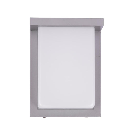 12W Rectangle Shape LED Outdoor Wall Sconce, Painted Silver Finish, White Acrylic Shade, ETL Listed