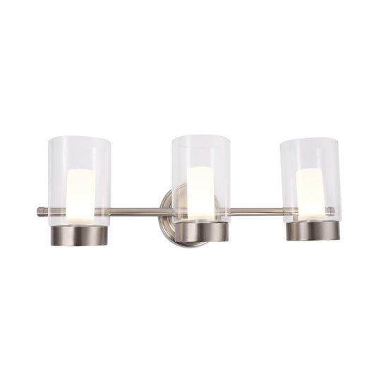 LED Vanity Lighting Fixture, Clear Glass Outer and White Acrylic Inner Shade, 4000K, Dimmable, ETL Listed, Brushed Nickel Wall Mounting Light