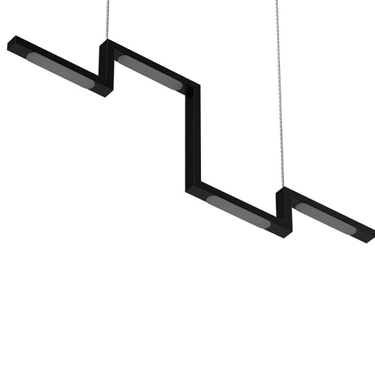 1-Lights - LED Linear Chandelier Light Fixture In Matte black Body Finish - 23W - 3000K - 1150LM Dimmable - 39.4''×1.3''×71'' (Dimension)