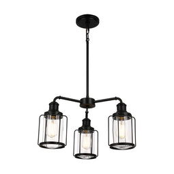 3-Light Birdcage Chandelier Lighting Fixture, Kitchen Island Light Fixtures, Matte Black Finish, E26 Base, 3 Years Warranty