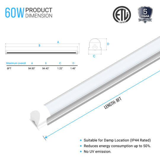 T8 8Ft LED Tube 60W 5000K Shape Integrated Frosted