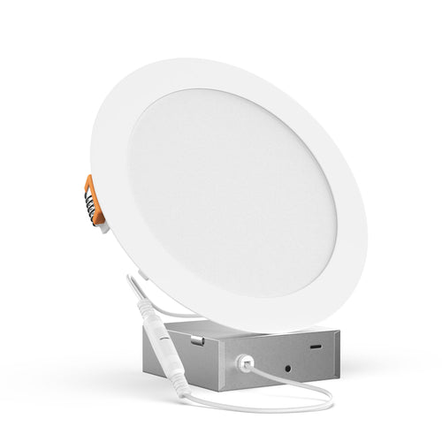 4-Inch LED Recessed Downlight with Junction Box, 9W, 650lm, Damp Location, Dimmable, Ultra-Thin Ceiling Panel Down Light