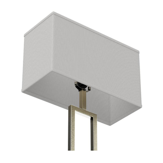 "61"" Floor Lamp with Brushed Nickel Finish and Rectangular White Linen Shade, On/Off Switch"