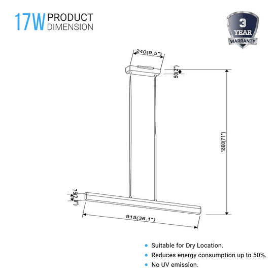 Linear Rectangular Pendant Lighting Fixture, 17W, 3000K (Warm White), 1137LM, Dimension: 36.1''x71''
