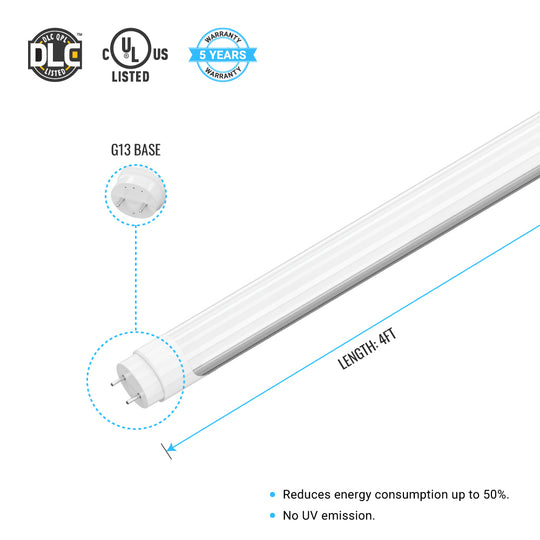 Ballast Compatible T8 4FT 20W LED Tube 3000 Lumens 4000K Frosted Cover (Check Compatibility List; Not Compatible with all ballasts)