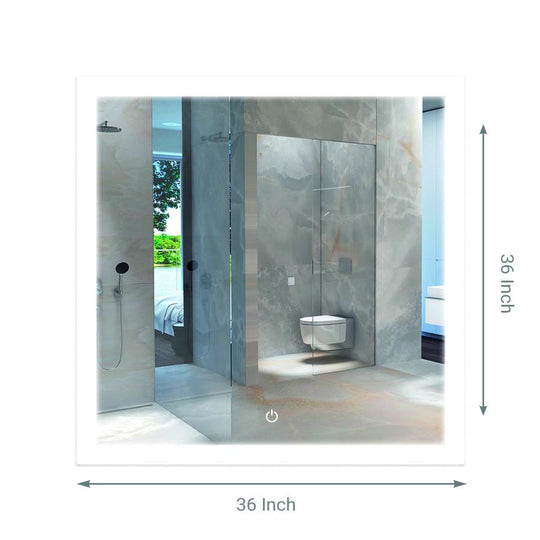 "36"" x 36"" Inch LED Bathroom Lighted Mirror & Defogger On/Off Touch Switch and CCT Changeable With Remembrance, Window Style"