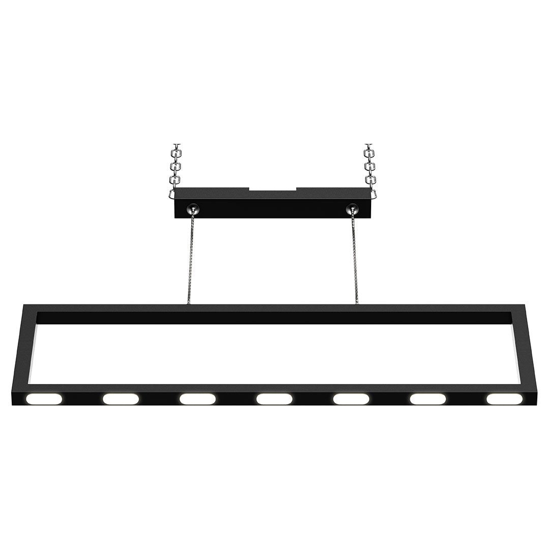 Rectangular Chandelier LED For Office Kitchen Dining Room - 33W - 3000K - 1650LM - LED Pendant Lighting with Matte Black Body Finish - Dimmable - 1-Light