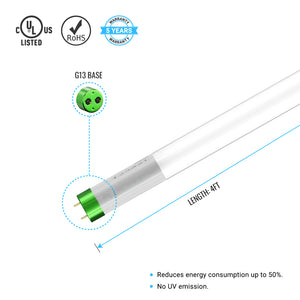Hybrid T8 4ft LED Tube Glass 18W 2400 Lumens 6500K Frosted (Check Compatibility List; Not Compatible with all ballasts)