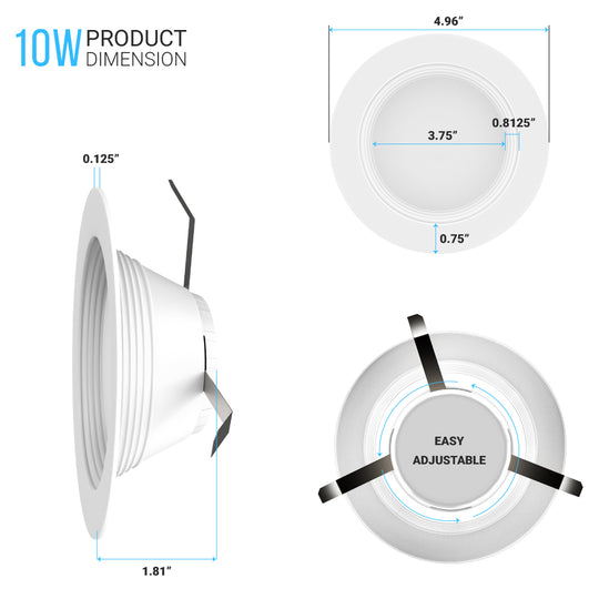 4-inch Dimmable LED Downlights / Can Lights - 10W, Retrofit, CRI 90+