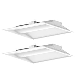 2x2 LED Troffer Light Fixtures, 30W - 5000K, Commercial Grade Recessed Troffer - Dimmable 2-Pack