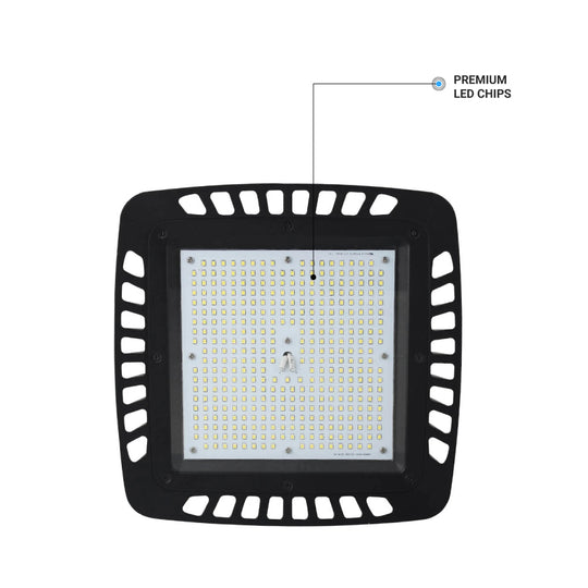 150W Square UFO LED High Bay Light ; AC100-277V ; 5700K Black