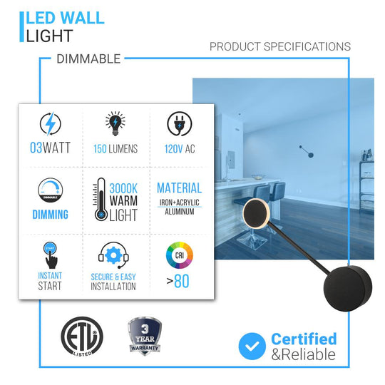 LED Wall Sconces Free Shipping in Matte Black Body Finish - 3W/head - 3000K - 150LM/head - Integrated Led Light Combination - Dimmable