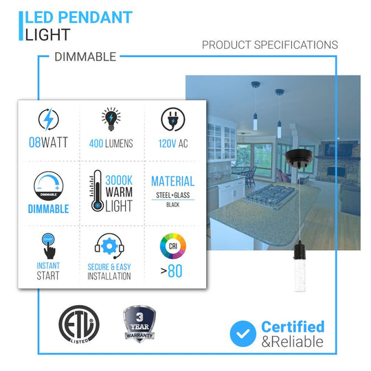 8W Dimmable LED Pendant Ceiling Light, 3000K (Warm White), Seedy Glass Shade, Dimmable, 400 Lumens, ETL Listed