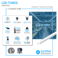 Load image into Gallery viewer, T8 8Ft LED Tube 60W 5000K Shape Integrated Frosted