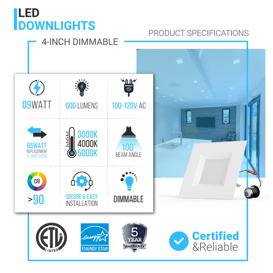4-inch Dimmable LED Square Downlights ; 9W