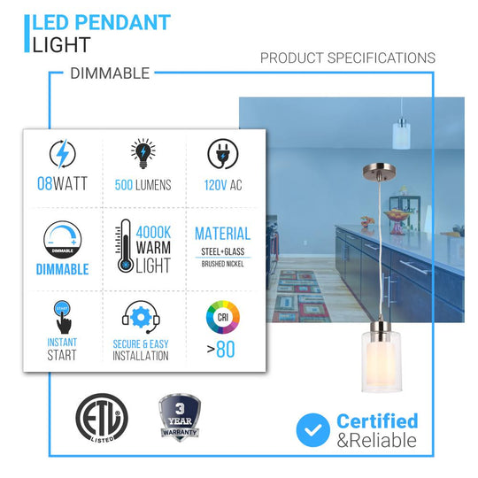 8W Cylinder Shape LED Pendant Light, Brushed Nickel Finish, 4000K (Cool White), 500 Lumens, ETL Listed
