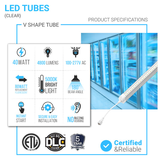 T8 LED Cooler V Shape 6ft 40W 5000k Clear 5200 Lumens Rebate Eligible