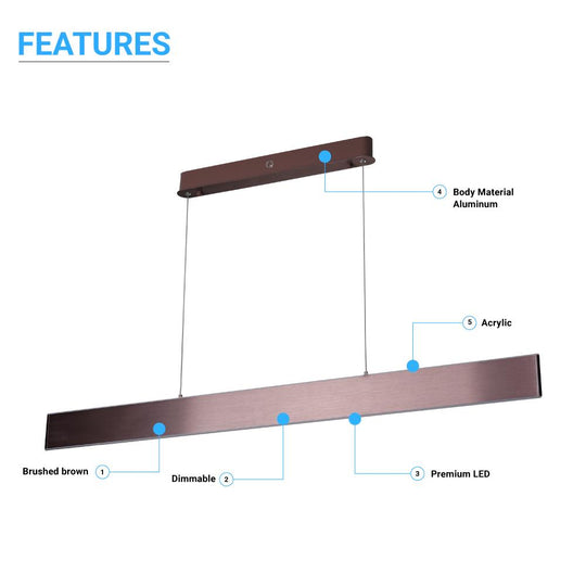 Linear LED Pendant Mount Lighting Fixture in Brushed brown Body Finish - 52W - 3000K - 2600LM - Dimmable