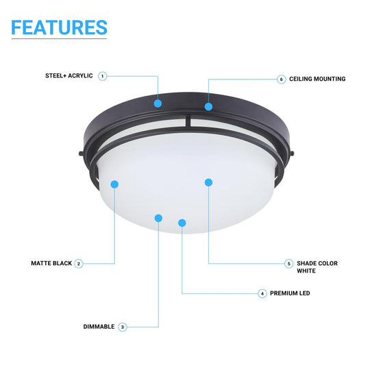 20W Modern Flush Mount Ceiling Light, CCT Changeable (3000/4000/5000K), 1200LM, Dimmable, Matte Black