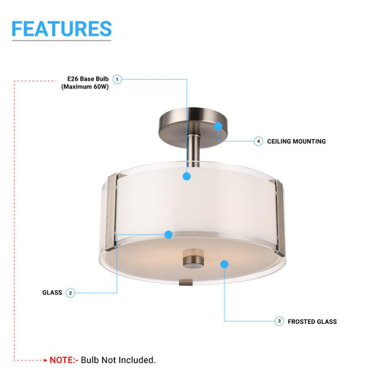 Drum Shape Semi Flush Mount Ceiling Light, Brushed Nickel Finish and Frosted Glass Shade, E26 Base, UL Listed - Damp Location