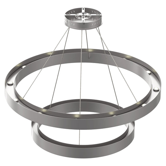 Modern - Double Ring Chandelier With Unique Shade, 115W, 3000K, 5750LM, Dimmable, Pendant Mounting, Aluminum Body Finish