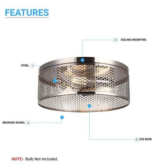 3-Lights Cage Style Flush Mount Fixture, Drum Shape, E26 Base, UL Listed, 3 Years Warranty