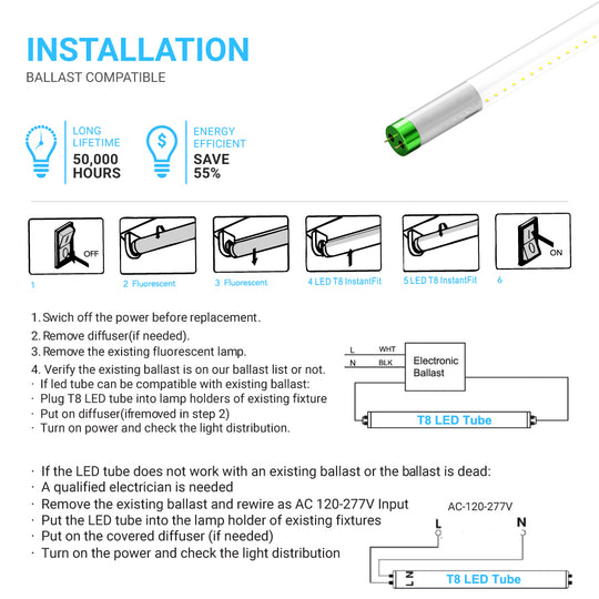 T8 4ft 18W LED Tube Glass 4000K Clear Plug N Play (Check Compatibility List; Not Compatible with all ballasts)