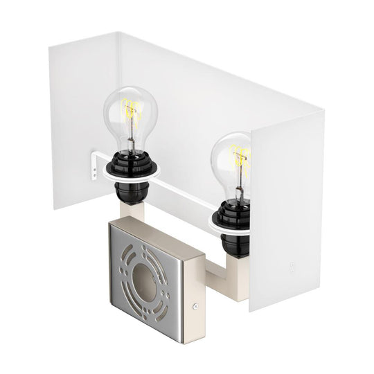 Modern Decorative Wall Sconce Light with 2 USB, 2 Rocker Switch, 1 Power Outlet, Satin Nickel Finish