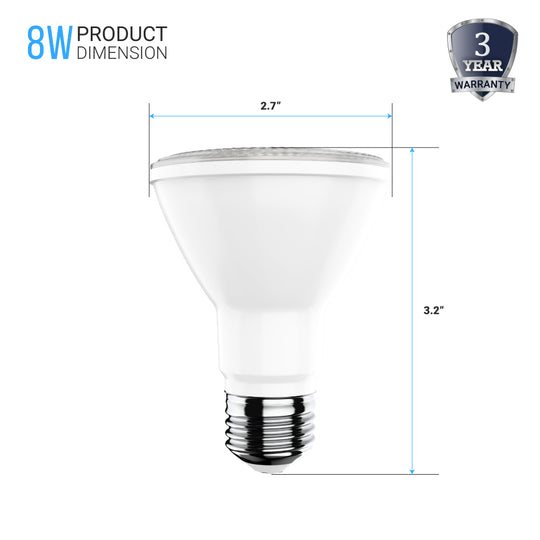 LED PAR20 Light Bulb 8 Watt 500 Lumens - 5000K - High CRI90+