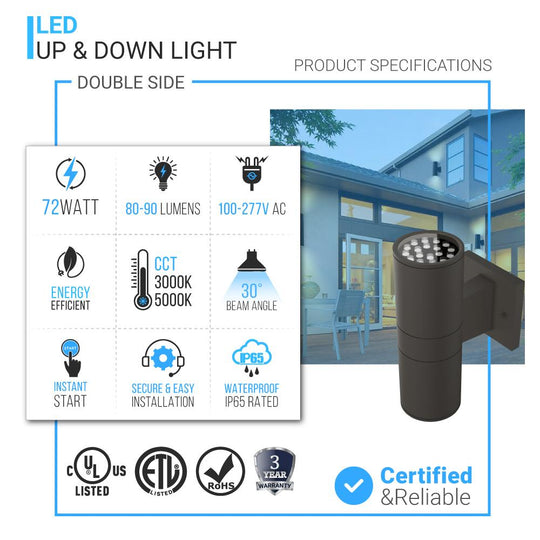 LED Up & Down Light Cylinder, 2x36W, AC100- 277V,Double Side (White Light)